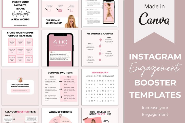 Instagram Canva Templates More Engagement | Blush Pink example image 1