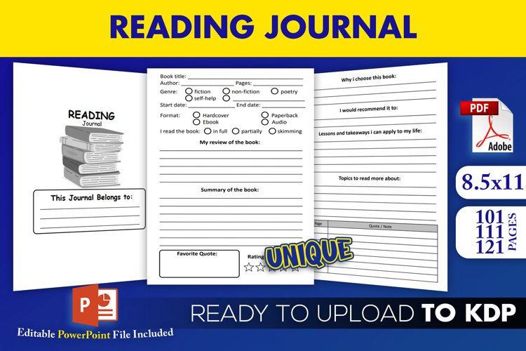 Reading Tracker Journal   KDP Interior Editable ppt Template example image 1
