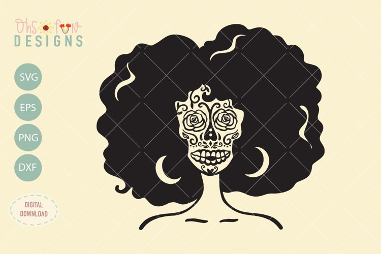 Afro woman sugar skull, halloween svg