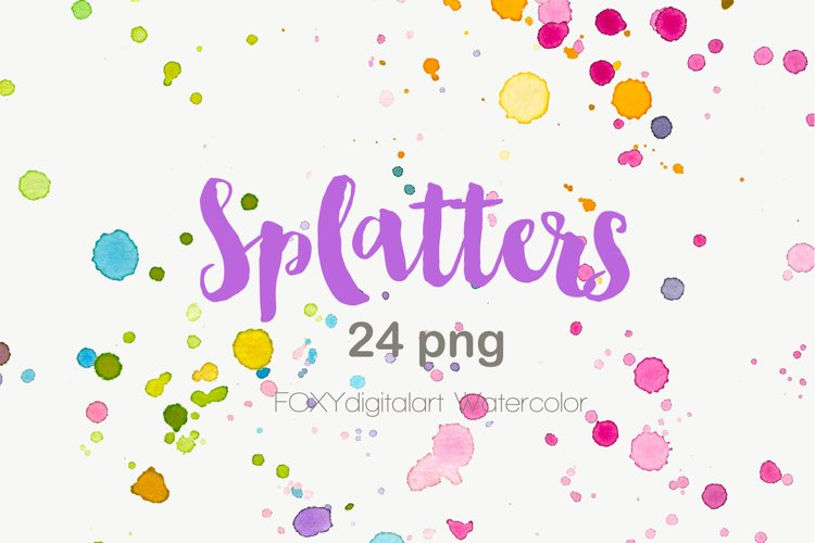 Watercolor Paint Brush Splatters Hand Painted example image 1