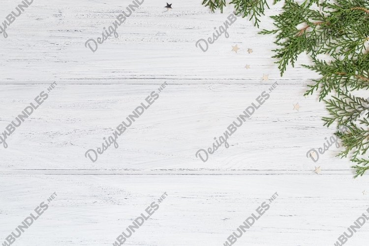 Photo of Christmas background with thuja branches example image 1
