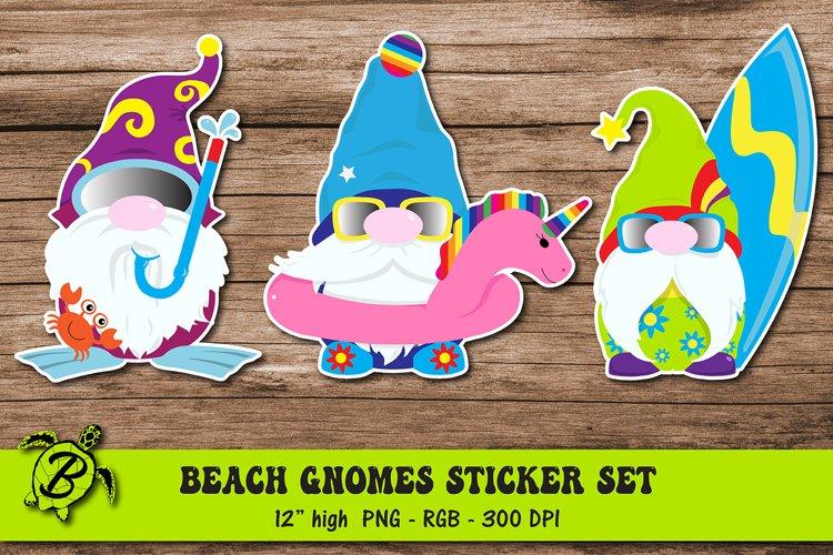Beach Gnomes Sticker Set   Gnomes Summer Vacation Stickers