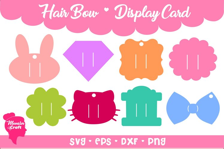 Hair Bow Clip Display Card 06 - Bundle of 8 style and 3 siz example image 1