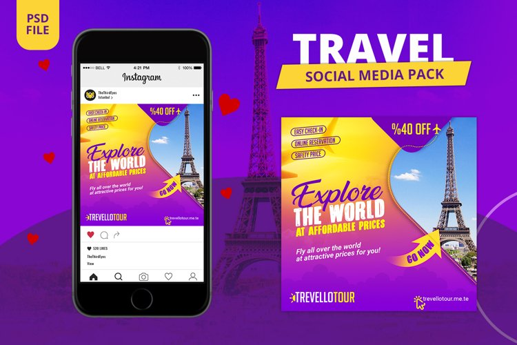Travel Social Media Pack example image 1