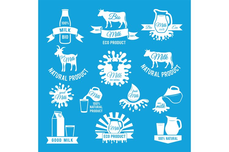 Labels set of fresh milk. Vector illustrations for farm logo example image 1