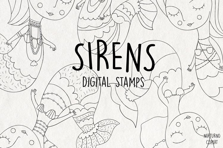 Sirens Mermaid SVG digital stamps, png and jpeg format example image 1