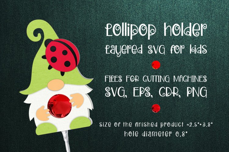 Gnome and Ladybug Lollipop Holder SVG