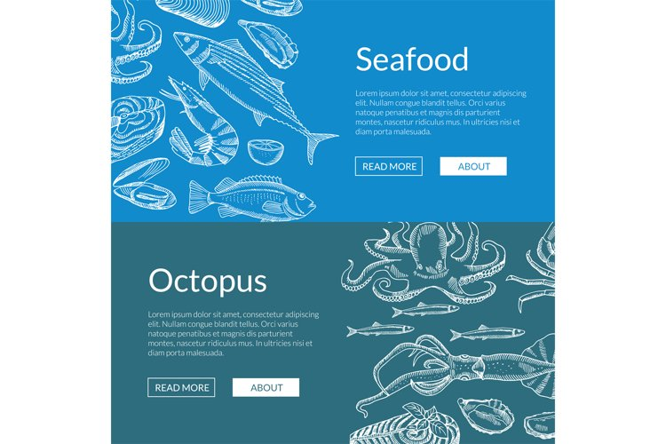 Vector web banner template with hand drawn seafood elements example image 1