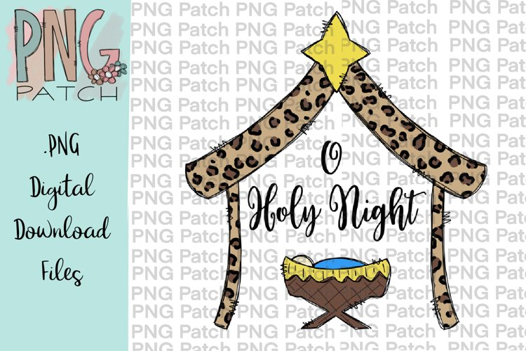 O Holy Night, Leopard Print Manger, Christmas PNG File example image 1