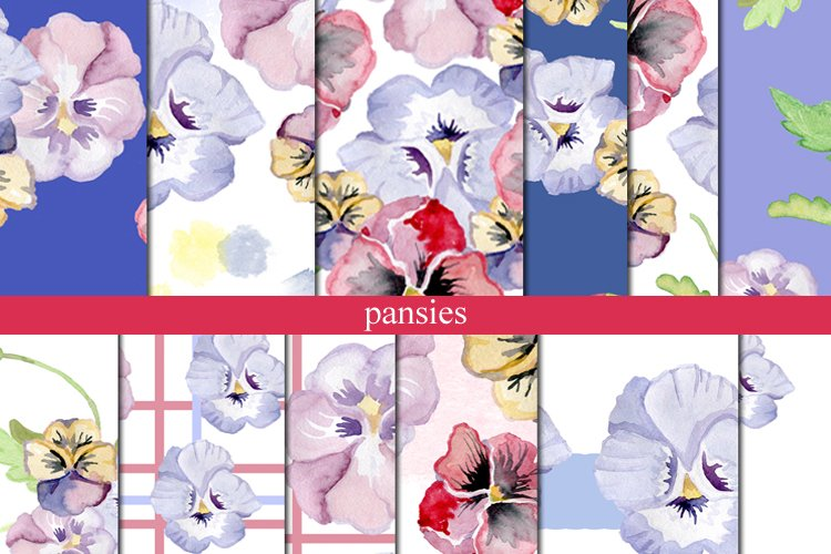 Floral patterns for textiles: pansies