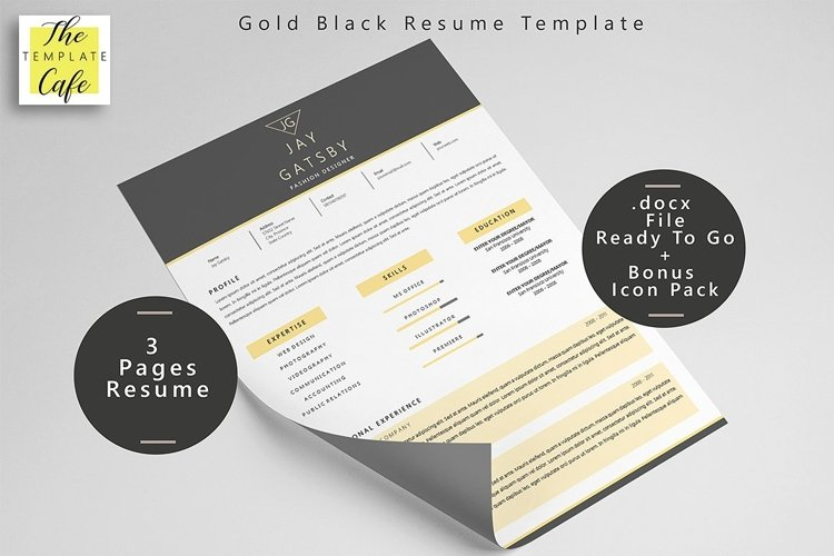 Black Gold Resume Template