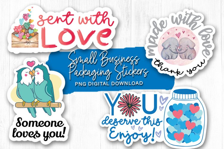Valentines PNG Sticker Pack, Small Business Stickers Bundle