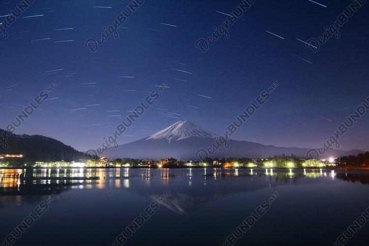 Mountain Fuji at night sky example image 1