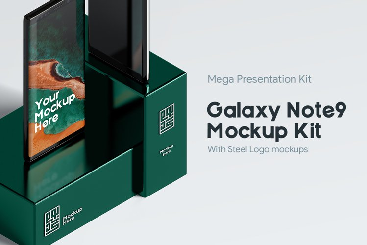 Samsung Galaxy Note9 Mockup Pack with logo