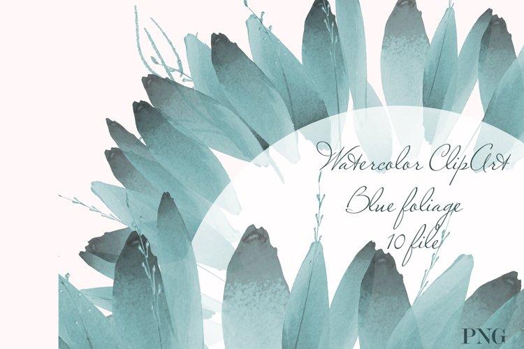Blue foliage clipart Set Watercolor border example image 1