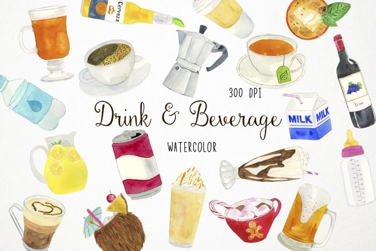 Watercolor Drinks Clipart, Drinks Clip Art, Beverage Clipart example image 1