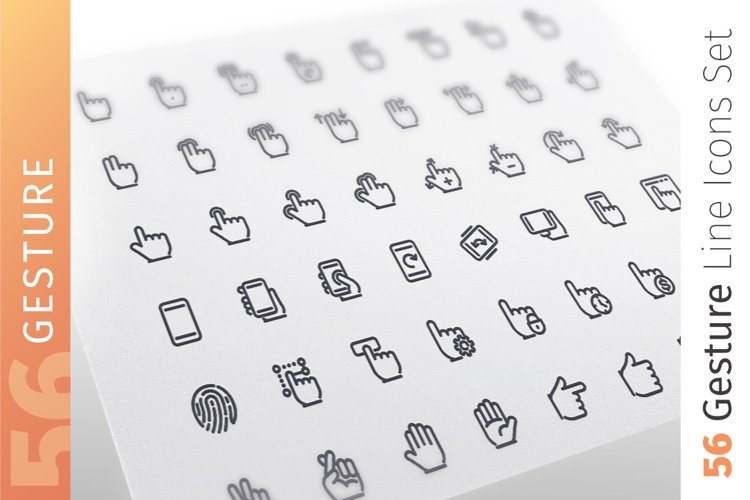 Gesture Line Icons Set example image 1