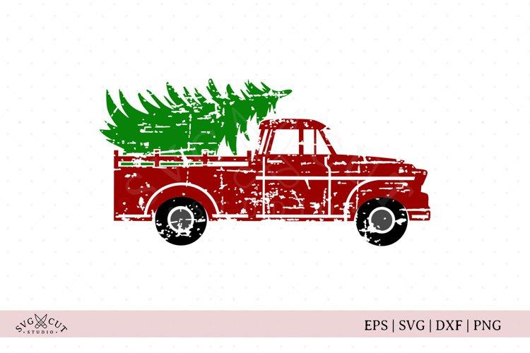 Distressed Christmas Tree Truck SVG Cut Files