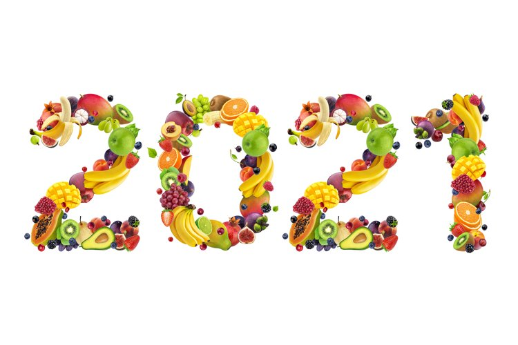 Happy New Year 2021. Number 2021 made of tropical fruits