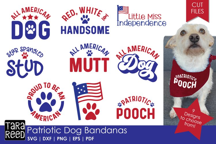 Patriotic Dog Bandanas - SVG & Cut Files for Crafters