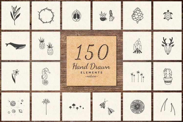 150 Hand Drawn Elements -Nature- example image 1