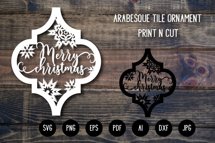 Arabesque Tile Christmas Ornament v.5. Lantern SVG Cut File example image 1