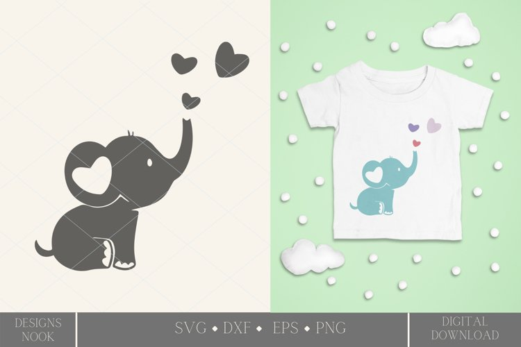 Baby elephant svg, cute elephant, baby shower cut file