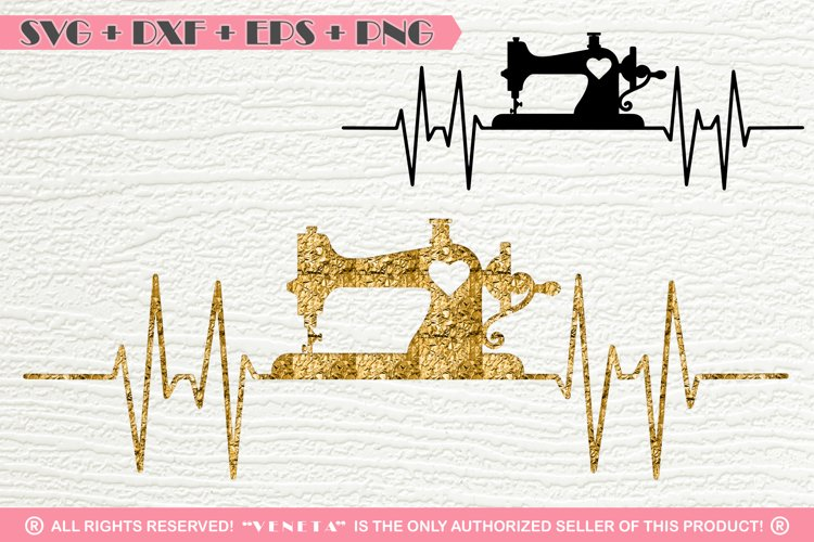 Old Sewing Machine Hearbeat   SVG DXF PNG EPS Cutting File