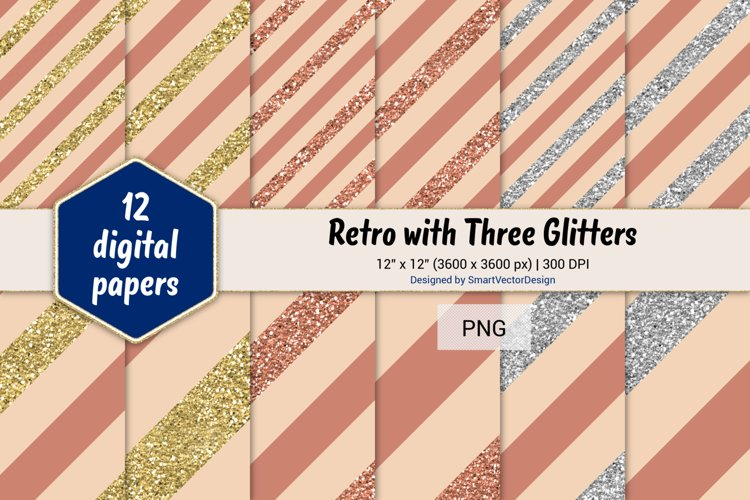 Diagonal Stripes Retro with Three Glitters Color Combo #26 example image 1