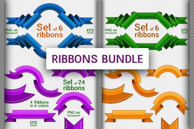 Bundle of 36 decorative ribbons. Flat style.