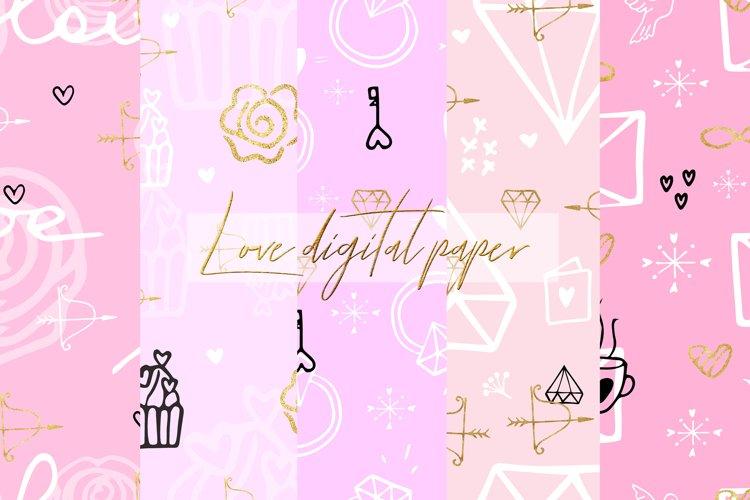 Love Digital Paper.Wedding, Valentines Day Digital Paper example image 1