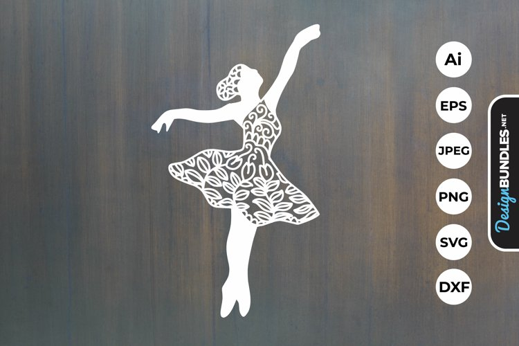 Ballerina Papercut SVG example image 1