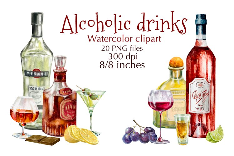 Watercolor wine.Alcohol Drinks Watercolor Clipart.snacks.