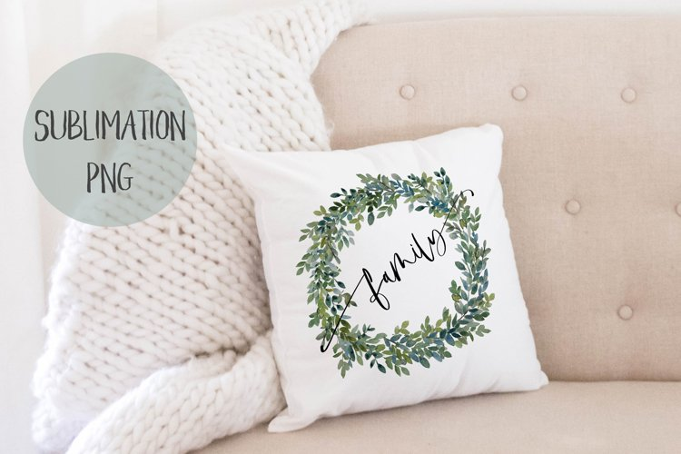 FAMILY Sublimation Boxwood Wreath Watercolor Clip Art example image 1
