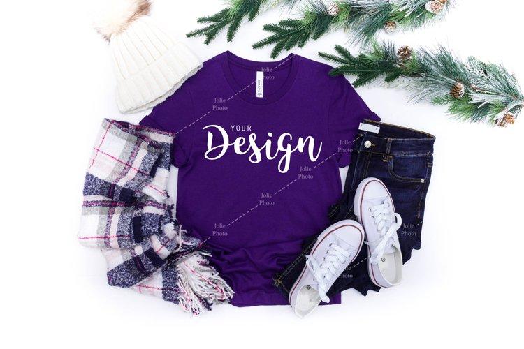Bella Canvas Mockup 3001 Team Purple T-shirt Winter example image 1