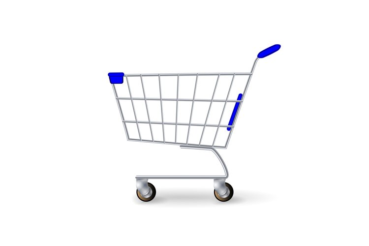 Supermarket Shopping Cart Vector. Empty Classic Chrome Cart