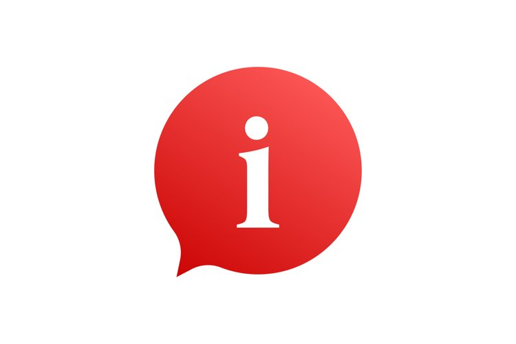 Information sign icon. Info speech bubble. Vector stock illu