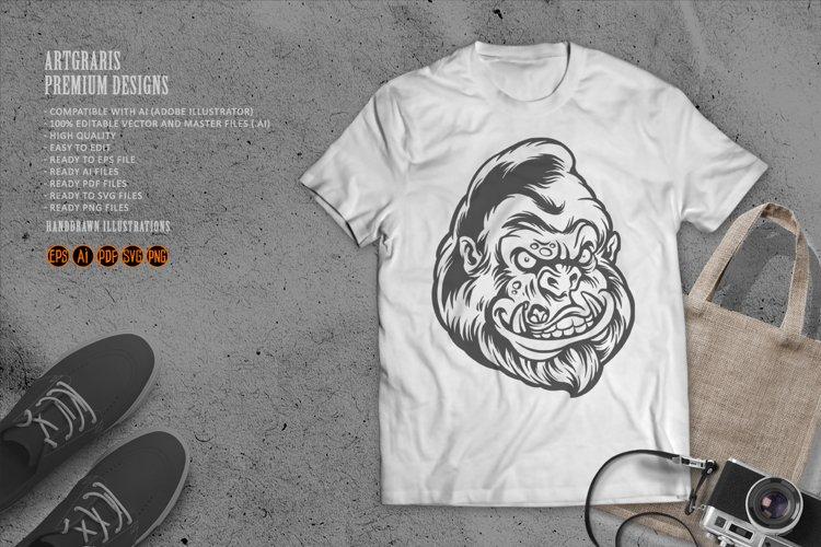 Silhouette Animal Head Gorilla Zombie Clipart SVG