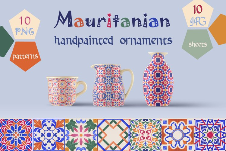 Mauritanian Ornaments Hand Painted Patterns & Digital Paper example image 1