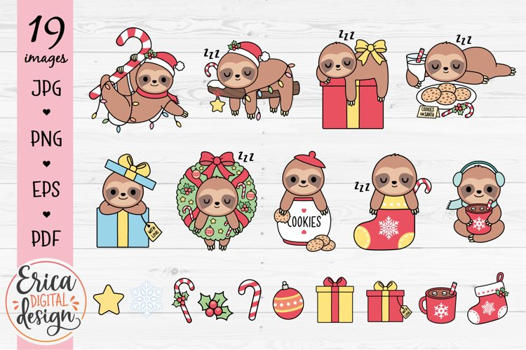 Christmas Sloth Clipart Bundle Funny Cute sloths 19 images example image 1
