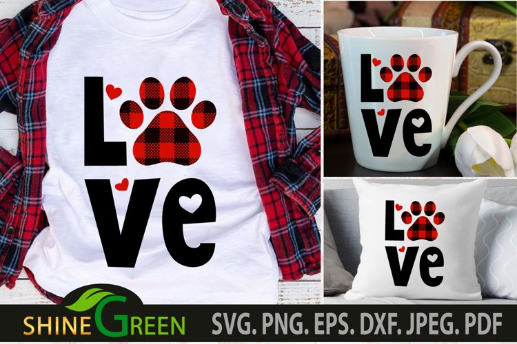Dog svg Love Paw Buffalo Plaid for Dog/Cat Valentines SVG example image 1