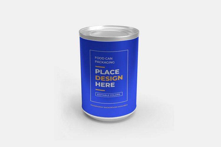 Aluminium Food Can Packaging 3D Mockup Template example image 1