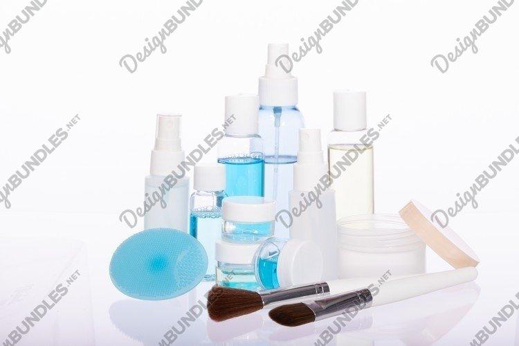 Skin care set isolated on white background, skincare tools example image 1