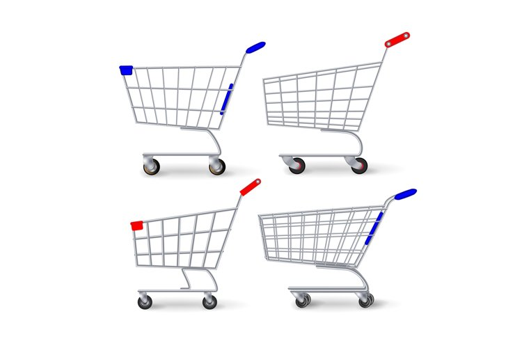 Supermarket Shopping Cart Vector. Set Empty Classic Chrome