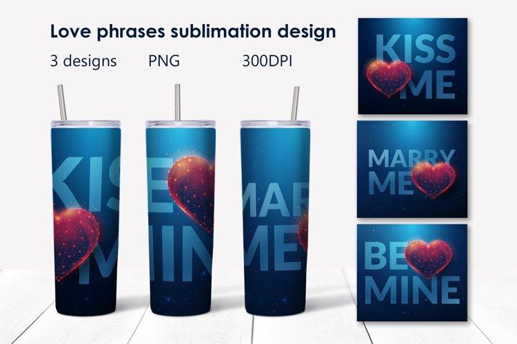 Love phrases sublimation design.