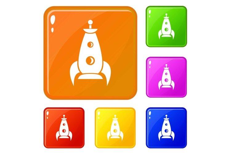 Rocket futuristic icons set vector color example image 1