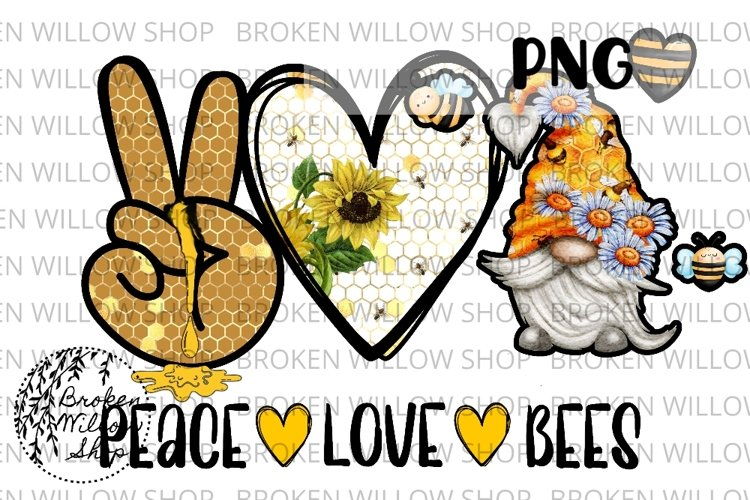 Peace Love Bees Gnomes Sublimation PNG Instant Download, Spr