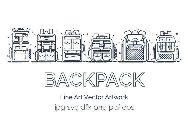 Set backpack or schoolbags in line art style