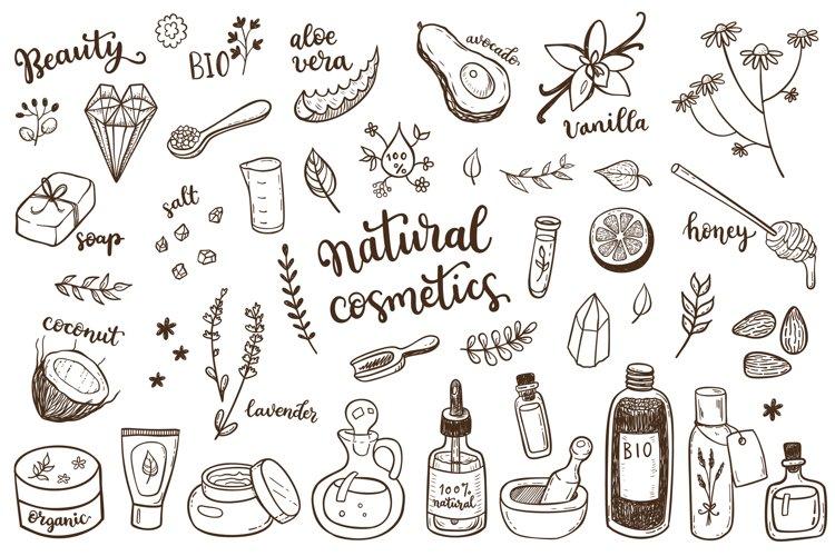 Organic cosmetics hand drawn set