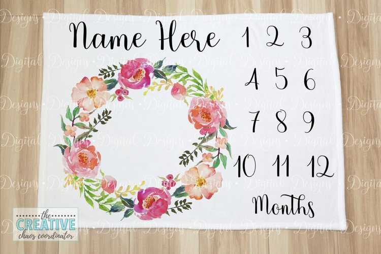 Baby Milestone Blanket Sublimation Template example image 1